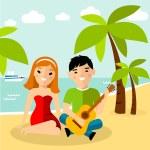 Romantic european couple playing a guitar at the beach — Stock Vector #78910886