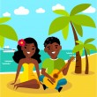Romantic African American couple playing a guitar at the beach — Stock Vector #78910888