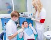 Patient scared of dental procedure — Stock Photo