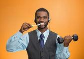 Multitasking businessman — Stock Photo