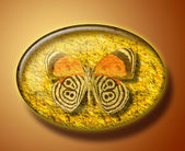 Butterfly in amber stone — Stock Photo
