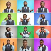Mosaic of young man expressing different emotions — Stock Photo
