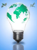 Bulb light with globe, green earth map, flying planes, space, or — Stock Photo