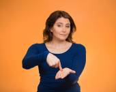 Upset woman gesturing pay me my money back, finger on palm gestu — Stock Photo
