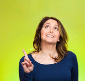 Woman, just came up with idea aha, index finger pointing, looking up — Stock Photo