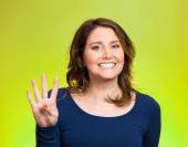 Woman, making four, 4 times sign gesture with hand  — Stock Photo
