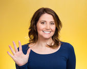 Woman making five times sign gesture with hand fingers — Stock Photo
