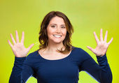 Woman making two times five sign gesture with hands, fingers, number ten — Stock Photo