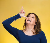 Woman, gesturing with hand thumb to go party, get drunk — Stockfoto