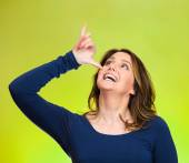 Woman, gesturing with hand thumb to go party, get drunk — Stock Photo