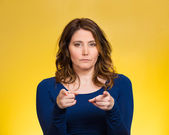 Serious woman pointing finger at someone, blaming — Stock Photo
