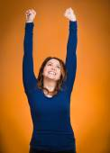 Happy ecstatic woman celebrating being winner — Stockfoto