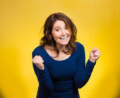 Happy ecstatic woman celebrating being winner — Stock Photo