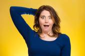 Startled woman, looking shocked, surprised — Stock Photo