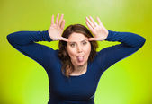 Childish rude bully woman sticking tongue out — Stock Photo