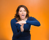 Screaming woman, showing time out gesture with hands — Stock Photo