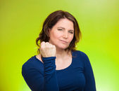 Woman worker, business employee showing fist — Stock Photo