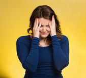 Stressed woman having so many thoughts — Stock Photo