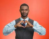 Man makes hand heart shape — Stock Photo