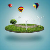 Green micro world, green earth with wind energy turbines installed on it — Stock Photo