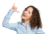 Goofy woman, gesturing with hand thumb to go party, get drunk — Foto de Stock