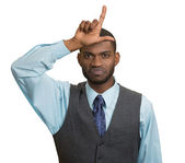 Unhappy Man, student showing Loser Sign — Stock Photo