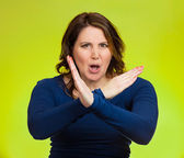 Woman with X gesture to stop talking, cut it out — Stock Photo