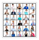 Froup of people giving thumbs up — Stock Photo
