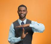 Happy executive company man showing time out gesture  — Stock Photo