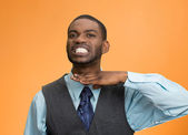 Angry man gesturing with hand to stop talking, cut it out — Stock Photo