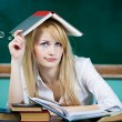 Annoyed, bored, tired, woman, funny looking student — Stock Photo #52786411