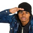 Headshot trendy handsome young man, rapper, model — Stock Photo #52802869