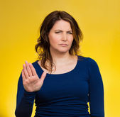 Annoyed woman with bad attitude, giving talk to hand gesture — Foto Stock