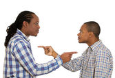 Two angry guys pointing fingers at each other, blaming each other — Stock Photo
