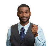 Man giving thumb, finger figa gesture you are getting zero nothing — Stock Photo
