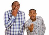 Two guys, excited, optimistic and bored, annoyed. Bipolar world — Stock Photo