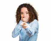 Happy woman smiling, laughing, pointing finger at you — Stockfoto