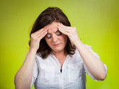 Stress headache. Portrait stressed woman having many thoughts — Stock Photo