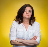 Displeased pissed off angry grumpy woman — Stock Photo