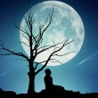 Silhouette of a meditating man on moonlight sky background — Stock Photo #53333275