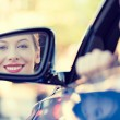 Woman driver looking in car side view mirror — Stock Photo #53336195