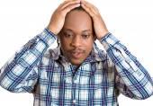 Worried upset stressed man — Stock Photo