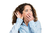 Shocked nosy woman hand to ear gesture — Stock Photo