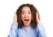 Headshot angry woman screaming — Stock Photo