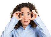 Shocked woman looking excited, surprised in disbelief, keeping wide open eyes — Stock Photo