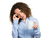 Tired, falling asleep woman, employee holding cup of coffee — Foto de Stock