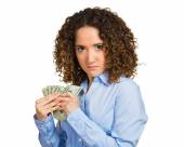 Greedy young woman corporate business employee — Stock Photo
