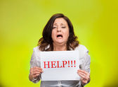 Stressed woman screaming for help — Stock Photo