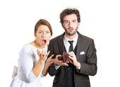 Broke bankrupt young couple — Stock Photo