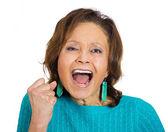 Angry, upset senior mature woman screaming — Stock Photo